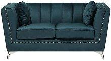 2 Seater Velvet Fabric Sofa Teal GAULA