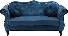 2 Seater Velvet Sofa Cobalt Blue SKIEN