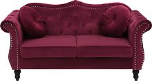 2 Seater Velvet Sofa Dark Red SKIEN