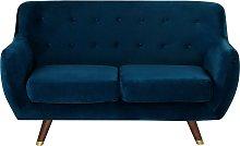 2 Seater Velvet Sofa Navy Blue BODO