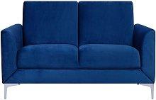 2 Seater Velvet Sofa Navy Blue FENES