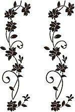 2 sets wall stickers 105 * 30cm black vine flower