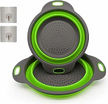 2 Sizes Collapsible Colander Set with 2 Piece Wall