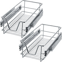 2 Sliding wire baskets with drawer slides - 27 cm