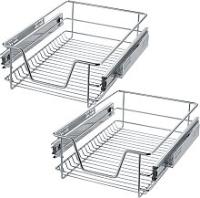 2 Sliding wire baskets with drawer slides - 37 cm
