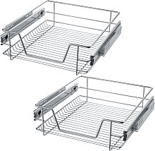 2 Sliding wire baskets with drawer slides - 47 cm