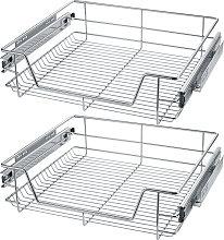 2 Sliding wire baskets with drawer slides - 57 cm
