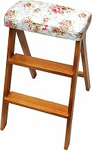 2 Steps Step Stool Solid Wood Collapsible