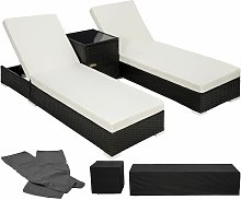 2 sunloungers + table with protective cover rattan