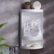 2 Tier Bathroom Corner Shower Suction Shelf Tidy