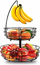 2 Tier Fruit Basket Metal Wire - with Banana