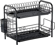 2 Tier Kitchen Dish Drainer Dry Rack Plate Bowl
