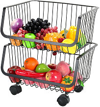 2 Tier Kitchen Fruit Vegetable Holder Rack Trolley