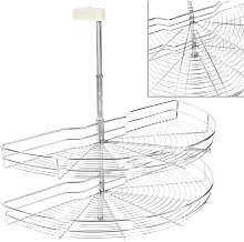 2-Tier Kitchen Wire Basket Silver 180 Degree