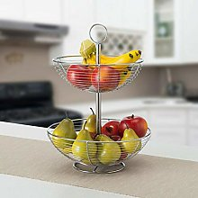 2 Tier Large Metal Wire Chrome Fruit Basket with