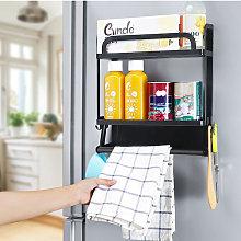 2 Tier Magnetic Rack Refrigerator Fridge Spice Jar
