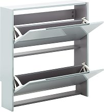 2 Tier Narrow Gloss Shoe Cabinet - Grey