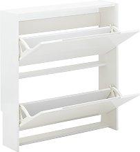 2 Tier Narrow Gloss Shoe Cabinet - White