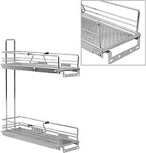 2-Tier Pull-out Kitchen Wire Basket Silver