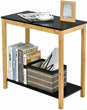 2-Tier Sofa End Table Bamboo Nightstand Storage