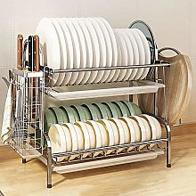 2 Tier Stainless Steel Sink Storage Rack with Drip
