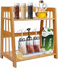 2-Tier Standing Spice Rack Bamboo 2 Shelf Bookcase