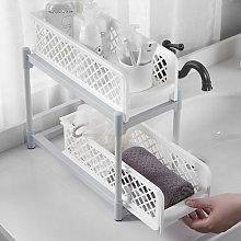 2 Tier Storage Basket Bathroom Kitchen Organiser