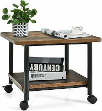 2-Tier Under Desk Printer Stand w/ Wheels Office