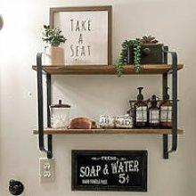 2 Tier Vintage Wall Unit Floating Hanging Shelf