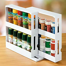 2 tiers Rotating Spice Herb Rack Holder Kitchen