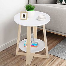 2 Tiers Round Side Table Small Coffee Table Corner