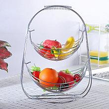 2 Tiers Swinging Fruit Vegetable Bowl Basket