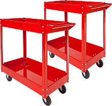 2 tool trolleys with 2 shelves - red