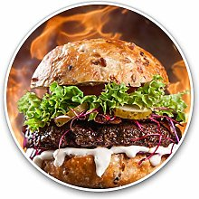 2 x 30cmVinyl Stickers - Flaming Burger Food Grill