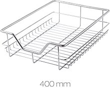 2 x 400mm Pull Out Chrome Wire Basket Drawers for