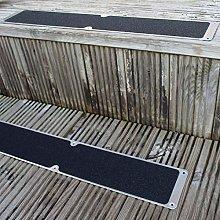 2 x Black 115 x 635mm Aluminium Anti-Slip Stair