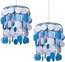 2 x Blue and White Easy Fit Light Shade