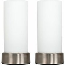 2 x Chrome Bedside Table Lamps + White Glass Shade + 4W LED Candle Bulbs - Warm White