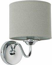 2 x Chrome Curved Arm Wall Light Fittings With
