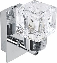 2 x Chrome Glass Ice Cube Indoor Wall Lights Lamps