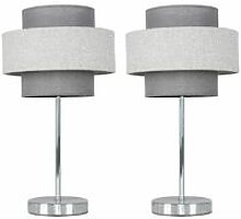 2 x Chrome Touch Table Lamps + Dark Grey & Light