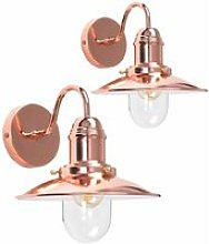 2 x - Copper Effect Metal & Glass Lantern Wall