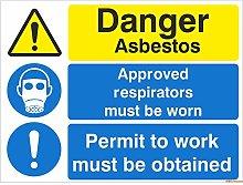 2 x Danger Asbestos Permit To Work Must Be