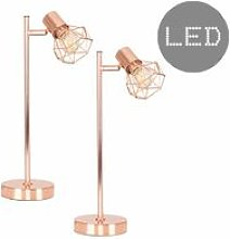 2 x Desk Lamps in a Copper Finish - Add LED Bulb -