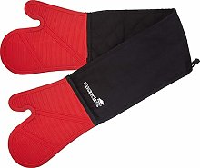 2 X Double Oven Glove, Silicone/Cotton, Black/Red