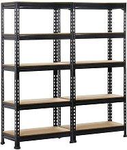 2 x Heavy Duty Black 5 Tier Garage Shed Storage