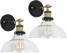 2 x Industrial Black & Gold Wall Light Fittings