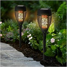 2 x LED Flickering Flame Outdoor Solar Torch Stake