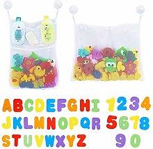 2 x Mesh Baby Bath Toy Storage + 36 Bath Toys