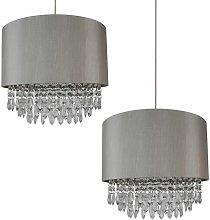 2 x Modern Silver Ceiling Light Pendant Shades w/